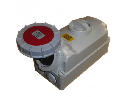 32A 5 pin IP67 industrial socket with interlock 415V red