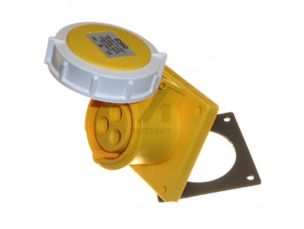 16A 2P+E 110V IP67 Straight Panel Socket Yellow