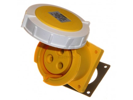 32A 2P+E 110V IP67 Straight Panel Socket Yellow