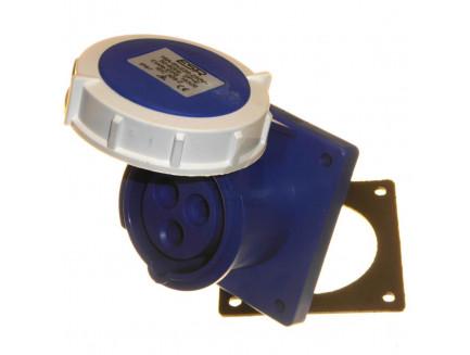16A 2P+E 230V IP67 Straight Panel Socket Blue