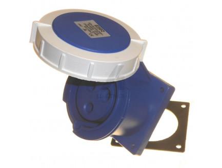 32A 2P+E 230V IP67 Straight Panel Socket Blue