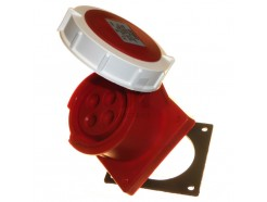 32A 3P+E 415V IP67 Straight Panel Socket Red