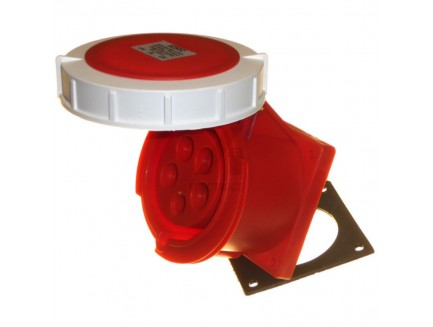 32A 3P+N+E 415V IP67 Straight Panel Socket Red