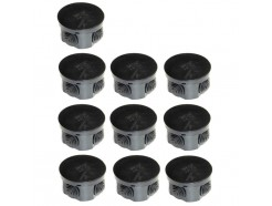 10 x 65mm Round IP44 Junction Box With Rubber Grommets Black