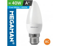 LED 40 Watt Equiv. Candle Lamp BC Bayonet Cool White