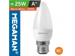 LED 25 Watt Equiv. Candle Lamp BC Warm White