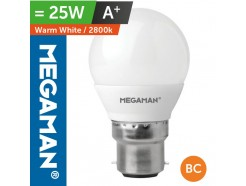 LED 25 Watt Equiv. Golf Ball Bulb BC Bayonet Warm White