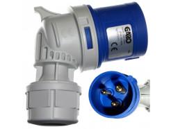 16A 3 Pin 230V Angled Plug