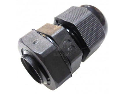 12mm black IP68 cable gland for 3 - 6.5mm cable