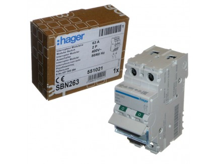 Hager SBN263 63A DP Isolator Switch