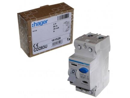 Hager CD283U 80A 30mA DP A-Type RCD