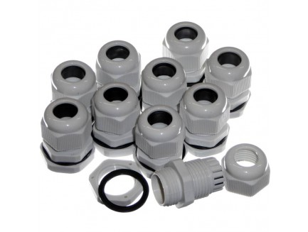 10pk 20mm Grey IP68 Glands for 6-12mm Cable