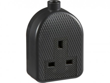 Trailing extension socket TPR rubber heavy duty black, single / double