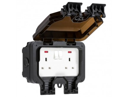Black Outdoor Double 13A Socket
