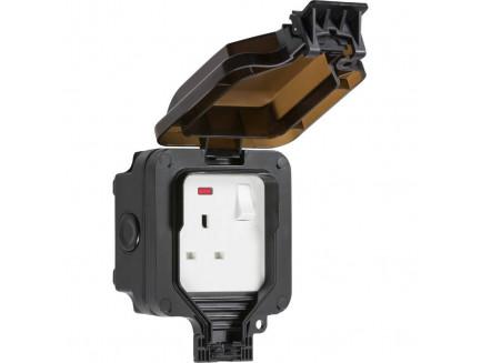 Black Outdoor Single 13A Socket