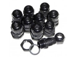 10pk 16mm Black IP68 Glands for 4-8mm Cable