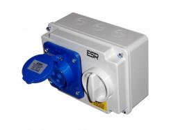 16A 3 Pin 230V Interlock Socket IP44 blue