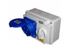 32A 3 Pin Single Phase Interlock Socket IP44 blue