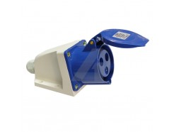 32 Amp 3 Pin Industrial Surface Socket 240V IP44 blue