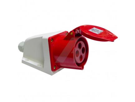 16 Amp 4 Pin Industrial Surface Socket 240V IP44 Red