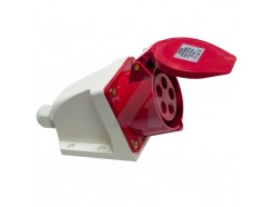16 Amp 5 Pin Industrial Surface Socket 415V IP44 Red