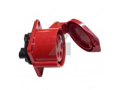 16 Amp 5 Pin Industrial Straight Panel Mount Socket 415V IP44 Red