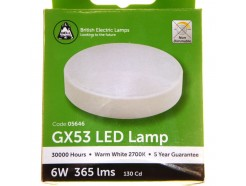 6W LED GX53 Bulb, in Warm White