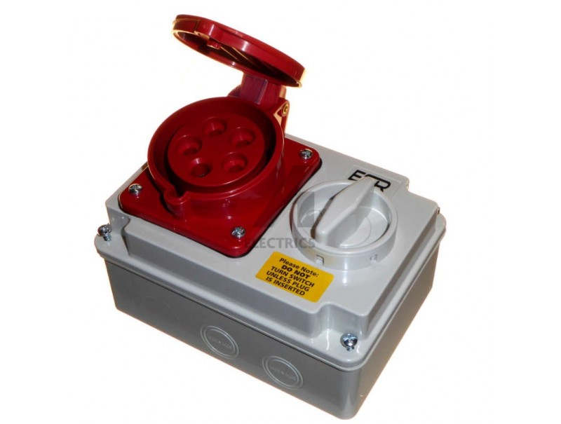 32 Amp 5 Pin 380 415 Volt Red Interlock Switched Socket