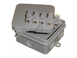 Small 65mm square junction box with 15A terminal strip