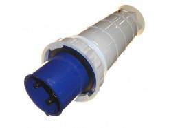 125A 3 pin industrial plug 240V IP67 blue
