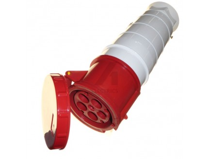 125A 5 pin industrial coupler 415V IP67 red