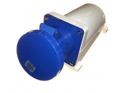 125A 3 pin industrial socket 240V IP67 blue
